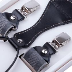 Luxusné sivé traky s hodvábnym leskom kožená pútka Assante 90055