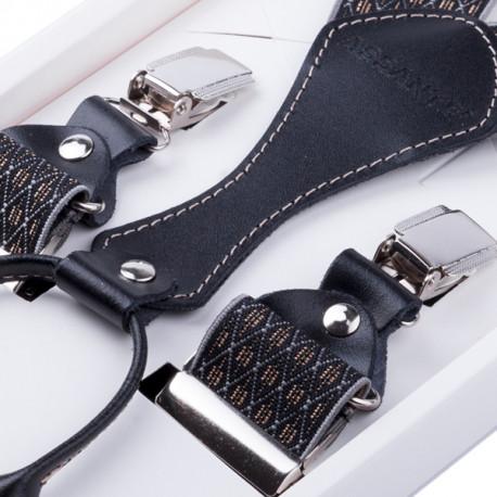 Luxusné čiernosive traky s hodvábnym leskom kožená pútka Assante 90065