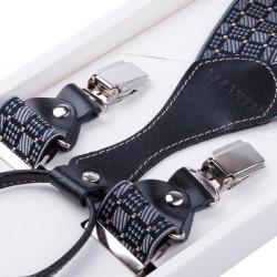 Luxusné čiernosive traky s hodvábnym leskom kožená pútka Assante 90067