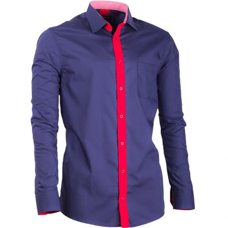 Predĺžená pánska košeľa slim fit modrá Assante 20716
