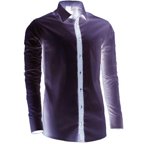Predĺžená pánska košeľa šedá slim fit Assante 20719