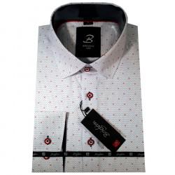 Bílá pánská košile dlouhý rukáv vypasovaný střih Brighton 109951