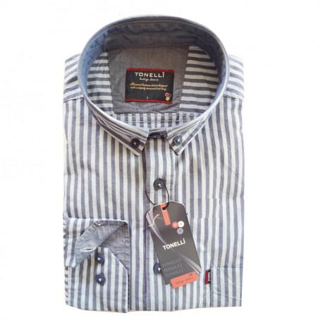 28c06bd859c3 Modrá pánska košeľa dlhý rukáv rovný strih Tonelli 110911