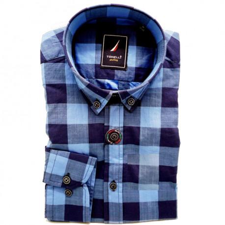 3c150c810dfd Modrá pánska košeľa dlhý rukáv rovný strih Tonelli 110912