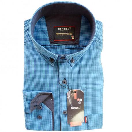 Nadměrná pánské košile rovný střih modrá Tonelli 110915