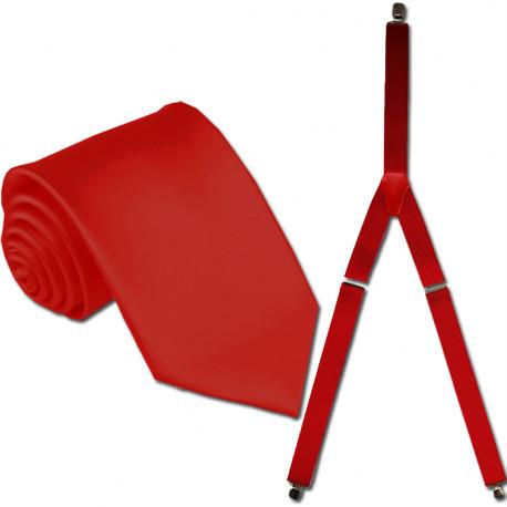 Traky a kravata červená súprava Assante 503