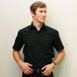 Čierna pánska košeľa s krátkym rukávom rovná Friends and Rebels 40101