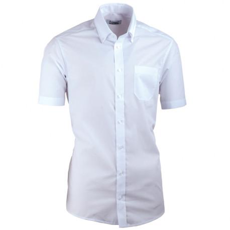 Biela pánska košeľa s krátkym rukávom slim fit Aramgad 40032