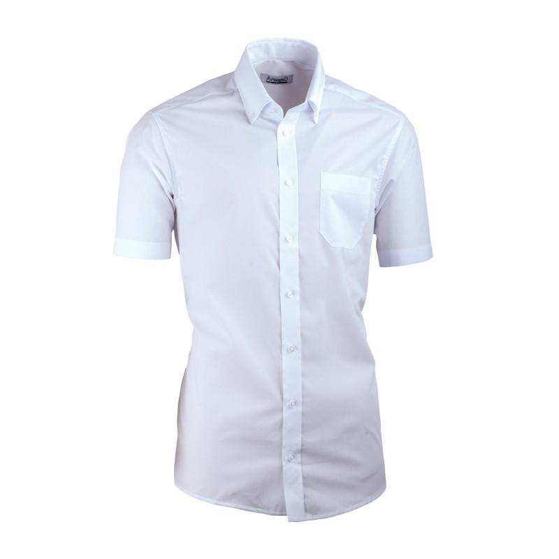 7748b957478b Biela pánska košeľa s krátkym rukávom slim fit Aramgad 40032
