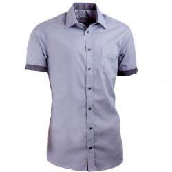 Sivá pánska košeľa s krátkym rukávom slim fit Aramgad 40139