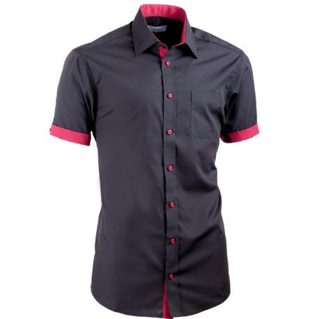 Čierna košeľa Aramgad slim fit kombinovaná 40141