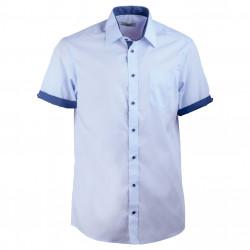 e990255569f6 Modrá pánska košeľa rovná s krátkym rukávom Aramgad 40439