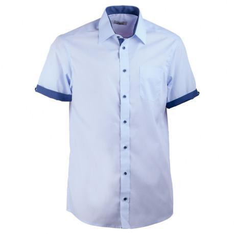Modrá pánska košeľa rovná s krátkym rukávom Aramgad 40439