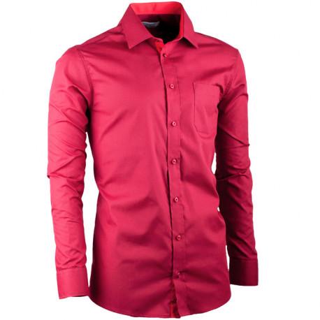 Vínová pánska košeľa slim fit s dlhým rukávom Aramgad 30380