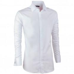 Košeľa na manžetový gombík slim fit biela Assante 30042