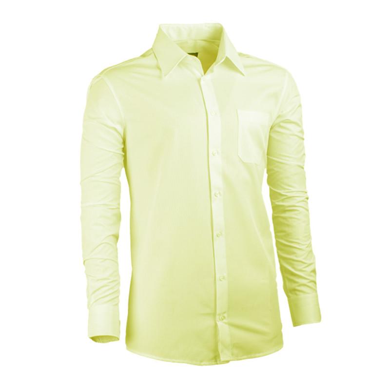 9a1606cbede0 Predĺžená pánska košeľa žltá regular fit Assante 20102