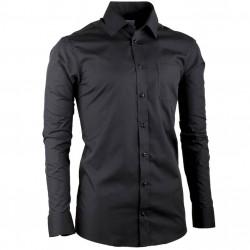 Predĺžená pánska košeľa slim fit čierna Aramgad 20100