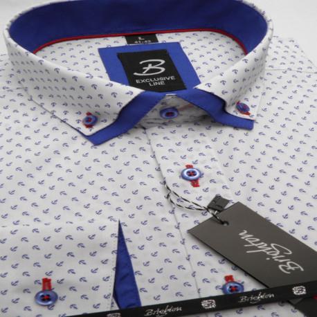 7efdc65effa5 Bielomodrá pánska košeľa dlhý rukáv s dvojitým golierom Brighton 109967