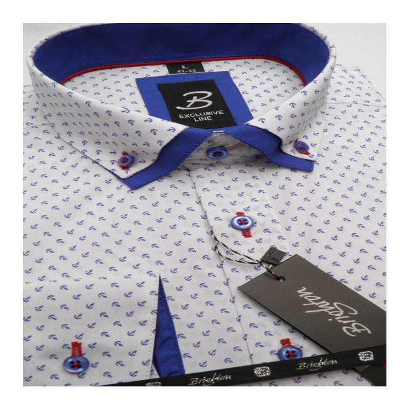 8cd0329da5bb Bílomodrá pánská košile dlouhý rukáv s dvojitým límcem Brighton 109967 ...