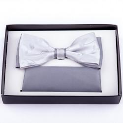 Svadobný sivý motýlik s vreckovkou Assante 90246