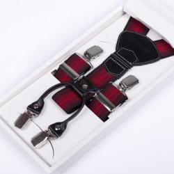 Luxusné traky červenočierne kožená pútka Assante 90027