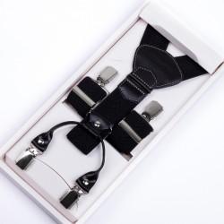 Luxusné čierne traky kožená pútka Assante 90029