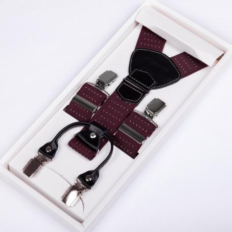 Luxusné bordó traky kožená pútka Assante 90043