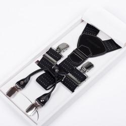 Luxusné čierne traky kožená pútka Assante 90045