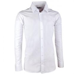 Pánska svadobná košeľa biela vypasovaná slim fit Aramgad 30045