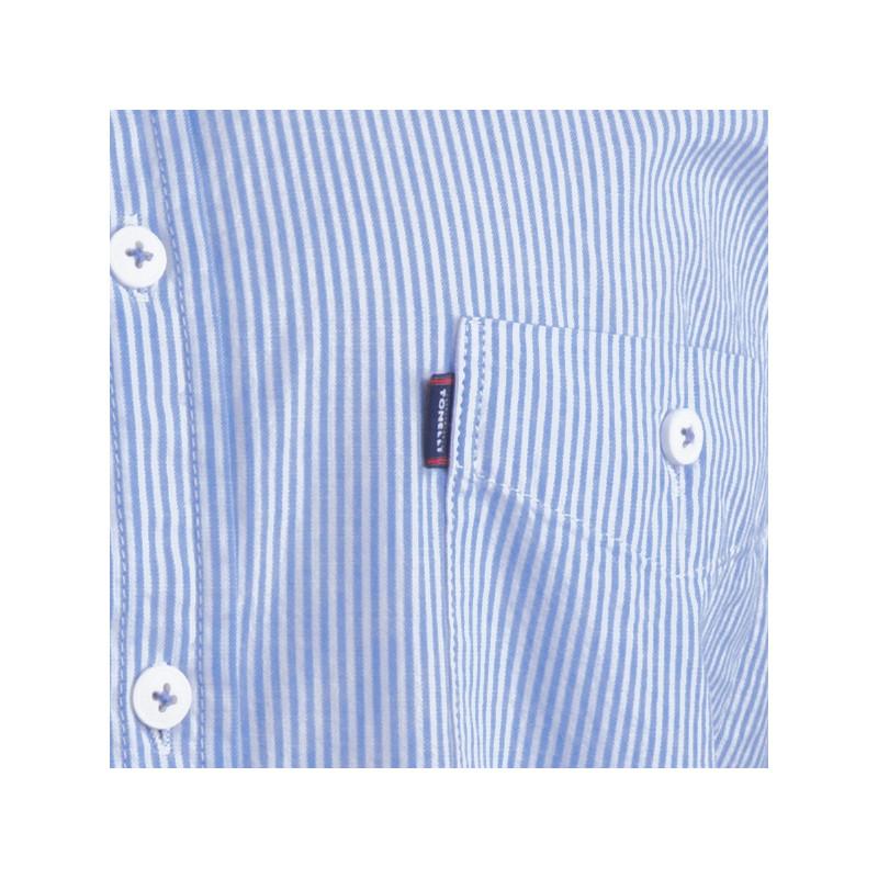 38c243fd019c ... Modrá nadměrná košile krátký rukáv rovný střih Tonelli 110928 ...