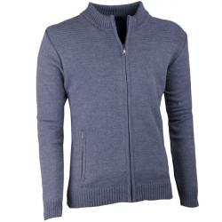 Sivý pánsky sveter na zips Assante 51013