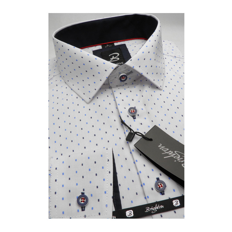 66d80cb87541 Bílomodrá pánská košile dlouhý rukáv s podšitým límcem Brighton 109992 ...