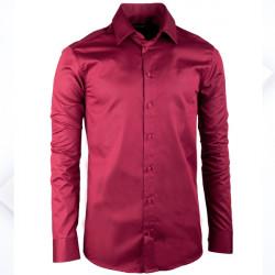 Predĺžená pánska košeľa slim vínovo červená Assante 20315