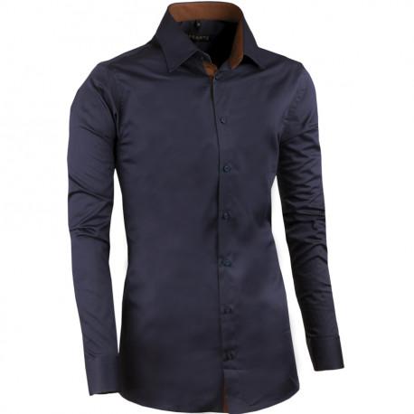 Slivkovo modrá pánska košeľa slim 100% bavlna non iron Assante 30488