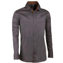 Tmavo sivá pánska košeľa slim 100% bavlna non iron Assante 30185