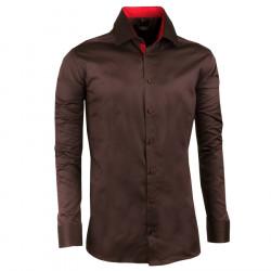 Tmavohnedá pánska košeľa slim 100% bavlna non iron Assante 30286