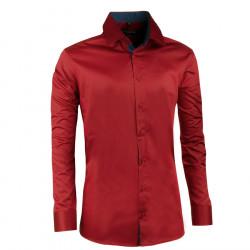 Tmavo červená pánska košeľa slim 100% bavlna non iron Assante 30388