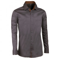 Extra predĺžená pánska košeľa slim tmavo šedá Assante 20117