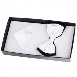 Biely luxusné saténový motýlik s vreckovkou Assante 90391