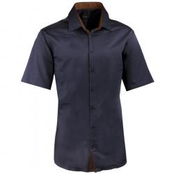 Pánska slivková košeľa slim krátky rukáv 100% bavlna non iron Assante 40442