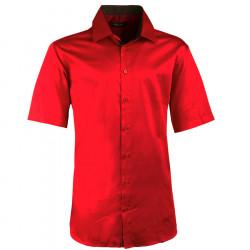 Pánska karmínová košeľa slim krátky rukáv 100% bavlna non iron Assante 40341
