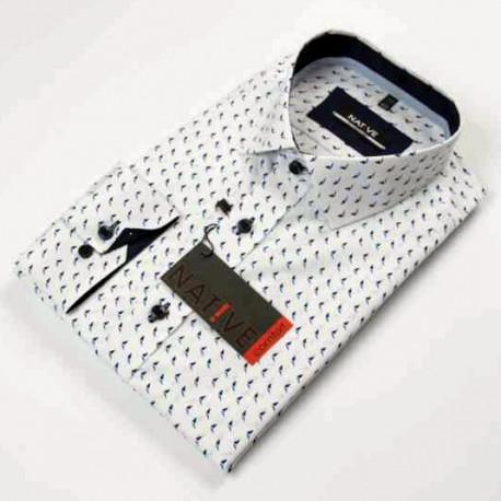 8a6531bfe6b6 Biela pánska košeľa dlhý rukáv vypasovaný strih Native 120001