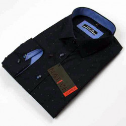 Tmavomodra pánska košeľa dlhý rukáv vypasovaný strih Native 120003