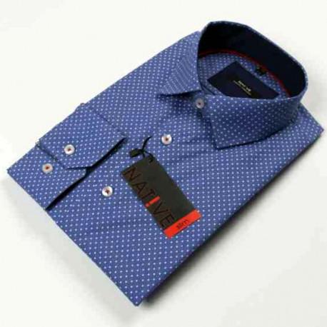 4355e4def191 Modra pánska košeľa dlhý rukáv vypasovaný strih Native 120005