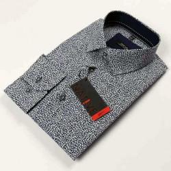 Modrobiela pánska košeľa dlhý rukáv vypasovaný strih Native 120008