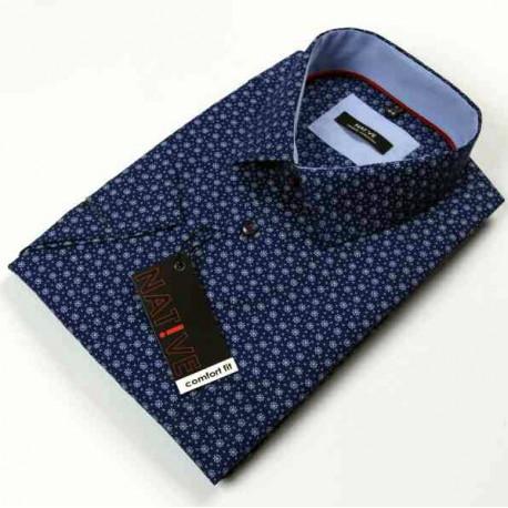 0c59bb543bd7 Modra pánska košeľa krátky rukáv vypasovaný strih Native 120301