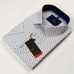 Biela pánska košeľa krátky rukáv vypasovaný strih Native 120302