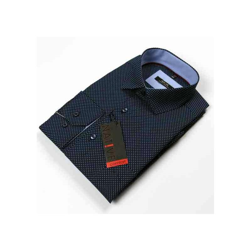 46c6766b396f Nadmerná modra pánska košeľa dlhý rukáv rovný strih Native 120500