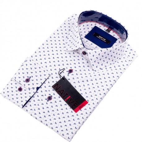 538a7a7ddd5b Biela pánska košeľa dlhý rukáv vypasovaný strih Native 120004