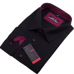 Čierna pánska košeľa nadmer dlhý rukáv rovný strih Native 1205/01